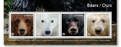 BEARS = Polar = Grizzly = Strip of 4  cut from SS /Minisheet Canada 2019 MNH VF