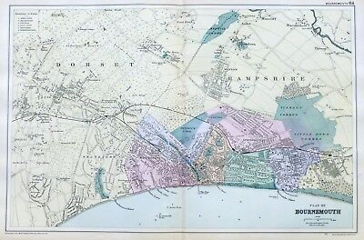 BOURNEMOUTH, 1899  -  Original double page Antique City Map / Plan , Bacon.