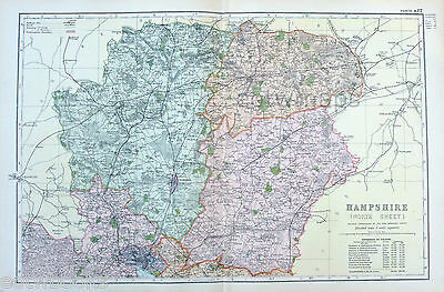 HAMPSHIRE ( Northern) -  Original Large Antique County Map -  BACON , 1897.