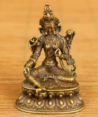 Antiques rare old bronze hand carving Tibet Buddha statue decoration