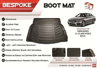 For MERCEDES C-CLASS 14-19 Tailored Rubber Boot Liner Fitted Mat Dog Tray W205