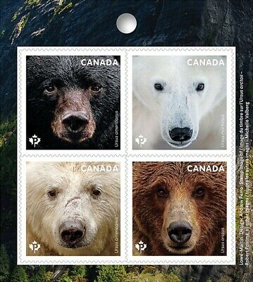 BEARS = Polar = Grizzly = Block of 4 = Left Booklet page Canada 2019 MNH VF