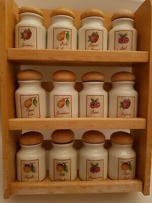 Vintage Style Wooden Spice Rack & 12 Porcelain Spice Jars From Debenhams