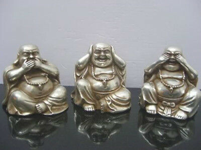Collectables Chinese tibet silver carved three buddha figurines
