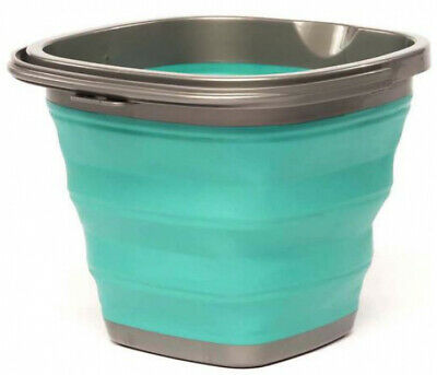Collapsible Bucket With Handle Pail Storage Folding Grey Teal 12 Pack Home Shop