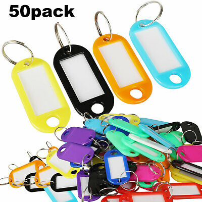 50X Plastic Key Tags Metal Ring Luggage Card Name Label Keychain W/ Split Ring