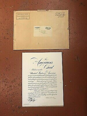 The Americans Creed Signed by William Tyler Page