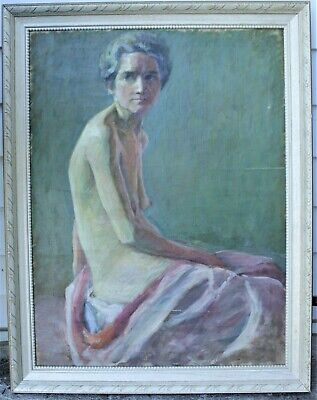 Canadian Stanley Gordon Moyer (1887-1968) Signed Painting - Nude Elderly Woman