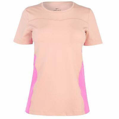 Nike Dri-Fit Sports T-Shirt Womens Rose Gold Fitness Training Workout Top Tee