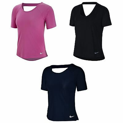 Nike Dri-Fit Miler T-Shirt Womens Fitness Training Workout Top Tee Activewear
