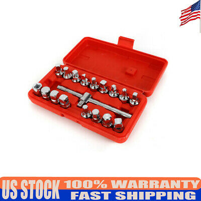 18*Oil Drain Pipe Plug Socket Set Tube Key Tool Axle Gearboxes Removal Tool Set