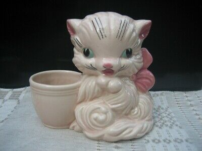 Vintage HULL Art POTTERY Pink CAT Kitten With BOW #61 Collectible PLANTER 1940's