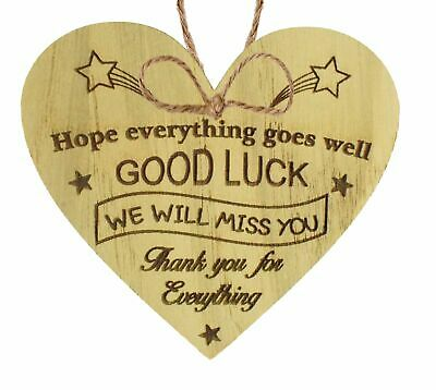 Good Luck Leaving Colleague Friend Teacher Work New Job Gift Wooden Sign Present