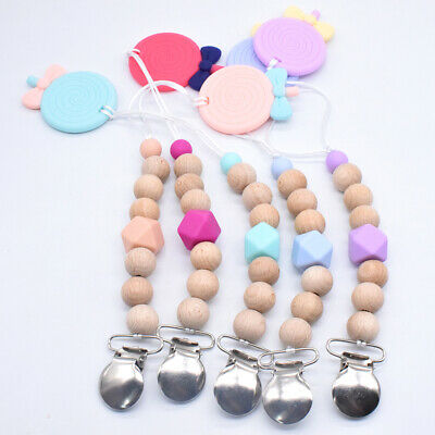 Silicone Lollipop Holder Teething Beads Wooden Baby Pacifier Clip Soothers Chain
