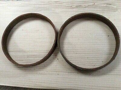 Pair Of Vintage Old Wrought Iron Rusty Cart Wheel Centre Rims 23.2cm Diameter