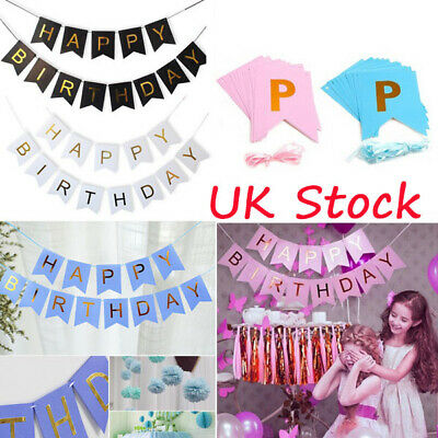 HAPPY BIRTHDAY Kids Party Deco Bunting Banner Garland Gold Foiled Letters Flags