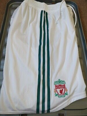 """Liverpool FC White Green PLAYER ISSUE Adidas Away Shorts NEW & TAGS 34"""" RARE"""