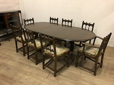 Large Ercol Oval Extending Dinning Table  & 8 Dining Chairs To Include2 Carvers