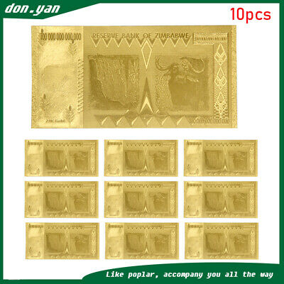 10X Zimbabwe Gold Foil 100 Trillion Dollars Banknote Bill World Money Collect