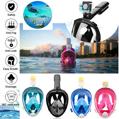 new 180° Anti-Fog Swimming Diving Full Face Mask Surface Snorkel Scuba for GoPro