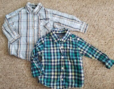 CALVIN KLEIN Lot of Long Sleeved Blue Plaid Button Front Shirts Boys 18 months