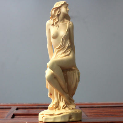 Chinese Boxwood Hand Carved beautiful girl Figure Statue