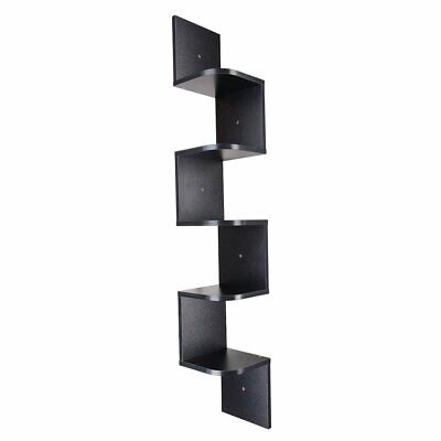 5 Tiers Black Wall Mount Corner Shelf Floating Shelves Wood Storage Rack