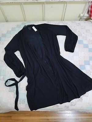 American Eagle Aerie Softest Sleep Robe True Black XS/S + matching lace shorts
