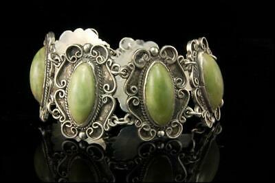 Vitage Mexican Jade Cabochon Sterling Silver Bracelet A802-607