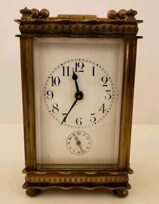 Antique Working 19th C. French Brass Victorian Carriage Travel Clock Alarm Clock