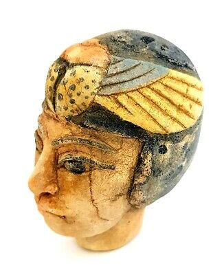 Stunning Egyptian Antique Head Statuette Rare Ancient Carved Stone Sculpture