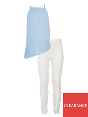 River Island Girls Blue Cami Top And White Leggings Outfit Set New Size 10 years
