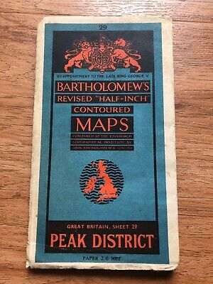 bartholomews vintage paper map of peak district