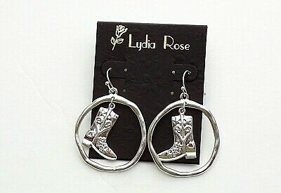 Lydia Rose Western Cowgirl Boot in Circle Dangle Pieced Silver tone Earrings