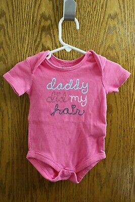 """Faded Glory Pink One-Piece """"Daddy Did My Hair"""" - Size 3-6 Months Girls"""