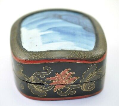 Vintage Old Chinese Shard Box Porcelain Inlay Lacquer Painted Jewelry Handmade/B