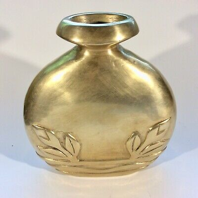 Vintage Heavy Solid Brass Oval Vase With Leaves Handmade Patina 7.25 Inches Tall