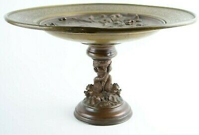 Antique Gilded Age Bronze Footed Plate Sea Monsters & Birds Patina 19th c.