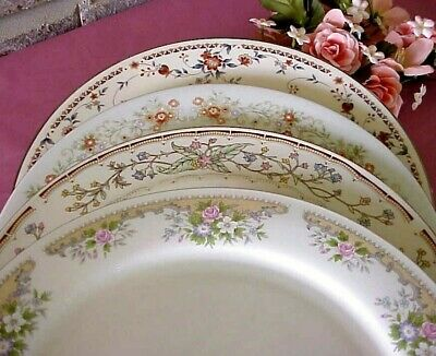 Vintage Mismatched China Dinner Plates Lot of 4 Gold Silver Bands