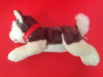 Plush Siberian Hiskey Sled Dog with Red Simulated Leather Collar