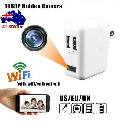 Mini Spy Camera Motion Detection Hidden Wall Charger DVR Nanny Babysitting Cam
