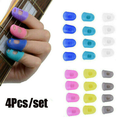 4pcs Silicone Finger Picks Protector Thumb Fingertip Caps Set For Ukulele Guitar