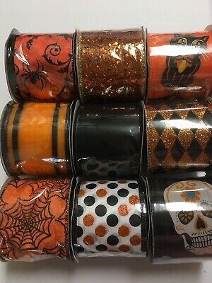 """5 Yds Shimmering Tinsel Fuzzy Edge Halloween Wired Ribbon 1 1//2/""""W CHOOSE COLOR"""