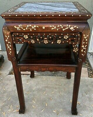 Old Antique Chinese Rosewood Mother of Pearl Inlay Table