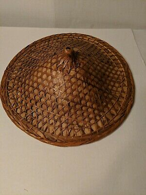 Vintage Hand Woven Bamboo Straw Asian Hat 16 inches in Diameter