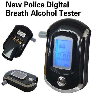 AU Portable Digital LCD Alcohol Breathalyser Police Breath Tester +5 Mouthpieces