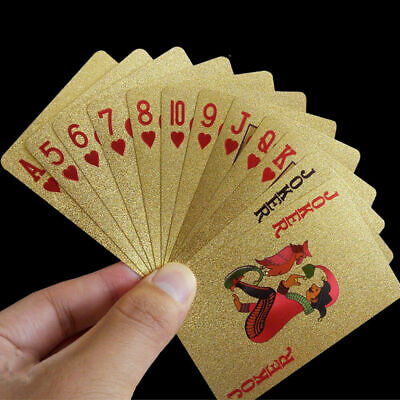 Waterproof Playing Cards Gold Foil Poker Cards 24K Plated Table Games Acces