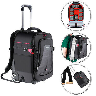 Neewer 2-in-1 Rolling Camera Backpack Trolley Case-Anti-shock Padded Compartment
