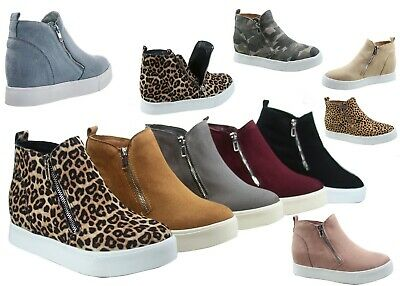 NEW Women's Stylish Round Toe Hidden Wedge Sneaker Ankle Boot Shoes Size 5.5 -11