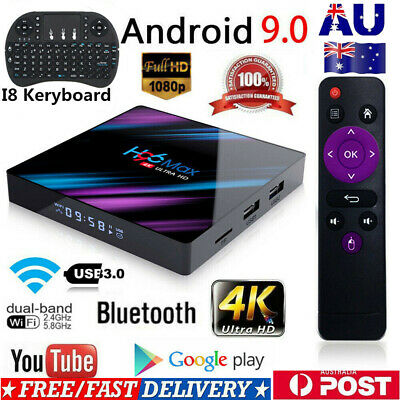 H96 MAX Smart TV BOX Wifi Android 9.0 OS RAM 32/64GB Quad Core HD 1080p 4K A6K9E